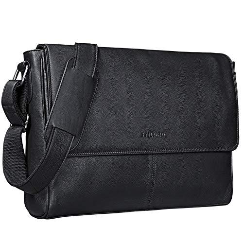 STILORD 'Oskar' Umhängetasche Laptoptasche 15 Zoll aus echtem Leder Messenger Bag Business Vintage Look, Farbe:schwarz