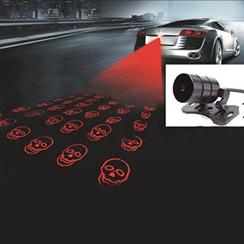 WONFAST Auto Motorcycle LED Fog Light Rear Anti-Collision Taillight Driving Safety Warning Signal Lamp Bulb Auto Brake Auto Parking Car Warning Light (Skull)