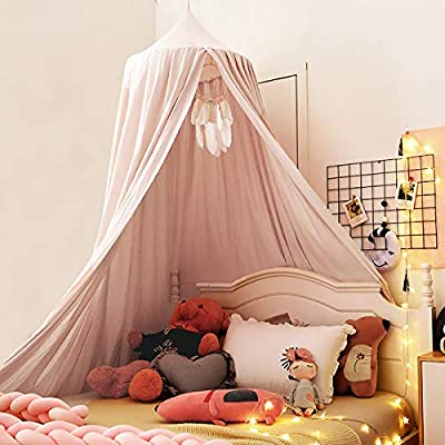 Kertnic Decor Canopy for Kids Bed, Soft Cotton Playing Tent Canopy Girls Room Decoration Princess Castle, Dreamy Mosquito Net Bedding, Children Reading Nook Canopies in Home (Pink) by Kertnic-US