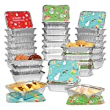 Rocinha 36PCS Christmas Treat Foil Containers-3 Holiday Designs, Disposable Aluminum Foil Pans with...