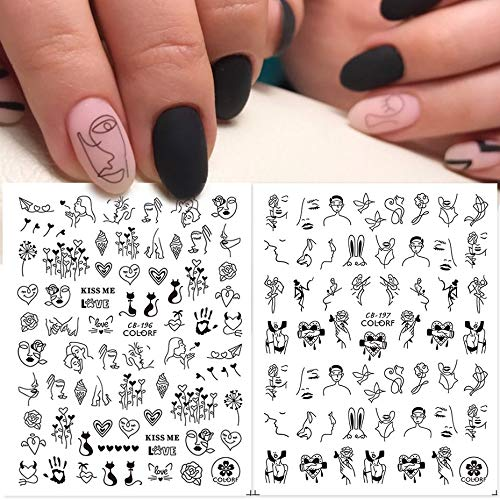 1pcs Black Nail Decals Human Face Rose Flower Personality Letter 3D Sticker Full Wrap Slider Nail Art Decoration SACB196-203-2