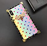 for Samsung Galaxy A20 / A30 Glitter Case,Luxury Design Glitter Bling Sparkle Love Cute Bee Gold Square Corner Soft TPU Trunk Cover for Man Women Girl Phone Skin,Colorful