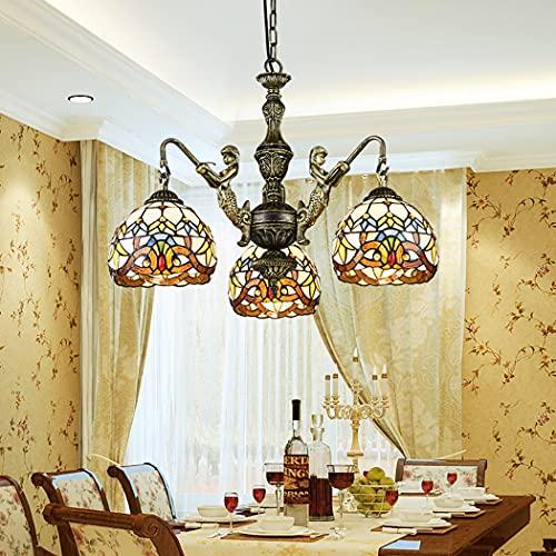 Lampadario Gloria mattutina in Stile Tiffany Multi,Frutta Modello Lampade A Sospensione Vetro Colorato, per Sala da Pranzo Plafoniera per Interni Arte Bar Lampada a Sospensione E27,110V~240V,3 Light