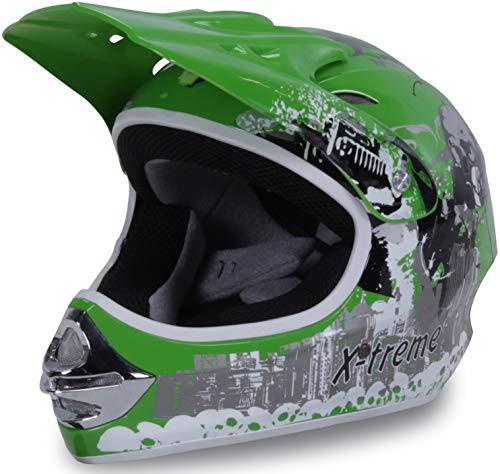 Actionbikes Motors Motorradhelm Kinder Cross Helme Sturzhelm Schutzhelm Helm für Motorrad Kinderquad und Crossbike in grün (Large)