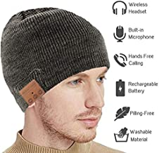 Upgraded Bluetooth Beanie Hat Headphones V5.0 Wireless Headset Winter Music Speaker Hat Knit Running Cap with Stereo Speakers & Mic Unique Christmas Tech Gifts for Women Men (Gray)