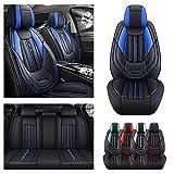 Juego completo de fundas de asiento de coche para Toyota Aygo, funda de cojín de piel sintética para vehículo, protectores impermeables compatibles con airbag (negro azul)
