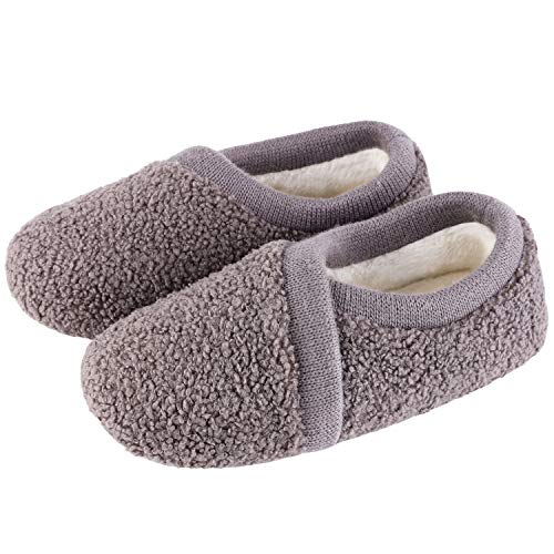 Women's Elastic Fleece House Shoes Comfy Fuzzy Slippers with Memory Foam Insole (Large / 9-10 B(M)...