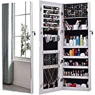 AOOU Jewellery Organizer, Locked Jewellery Cabinet, Full Screen, Larger Mirror, with 3...