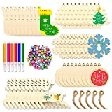 Unfinished Christmas Wooden Ornaments 156Pcs Set, HOMOR 50Pcs Christmas Tree Ornaments with 33.6Ft Jute Twine 50Pcs Scrub Bells 6Pcs Color Pens DIY Crafts Christmas Ornaments Valentine's Day Gifts