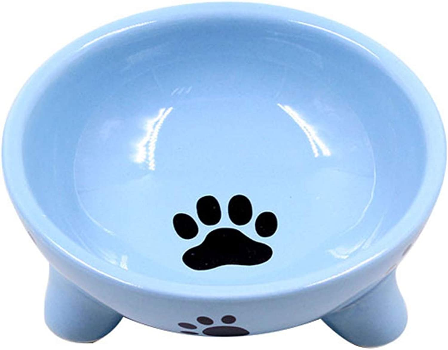 Dog Bowl Triangle Ceramic Kitten Dog Bowl Pet Supplies Small Pet Triangle Stable Feeder Water Food Bowl,bluee
