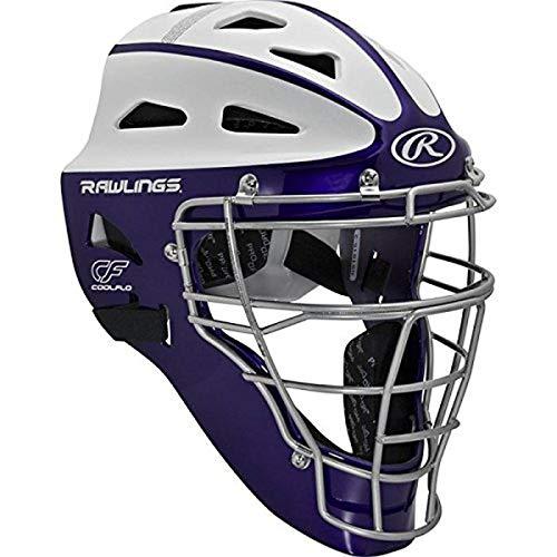 Rawlings Sporting Goods Youth Softball Protective Hockey Style Catcher's Helmet, Purple/White