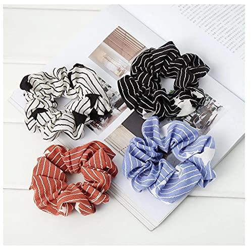 4 unids mujeres anillo de pelo chica elástico rayas banda para el pelo Femme kawaii coleteros corbata headwear accesorios para el cabello