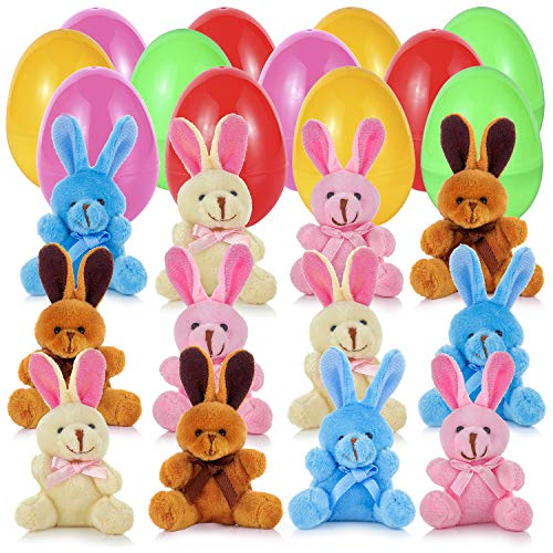 """LANMEI Easter Eggs Filled with Plush Bunny, 3"""" Surprise Plastic Colorful Easter Eggs Prefilled with 4"""" Plush Bunnies, Great Easter Eggs Hunting Fun (12 Pack)"""