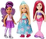 Barbie Dreamtopia coffret 3 mini-poupées Chelsea, en tenues de princesse, sirène et fée, jouet pour enfant, FPL86