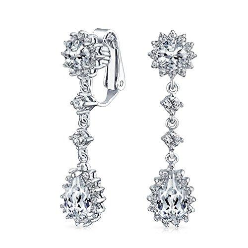 Bling Jewelry Messing rhodiniert CZ Bridal Kronleuchter Clip auf Ohrringe