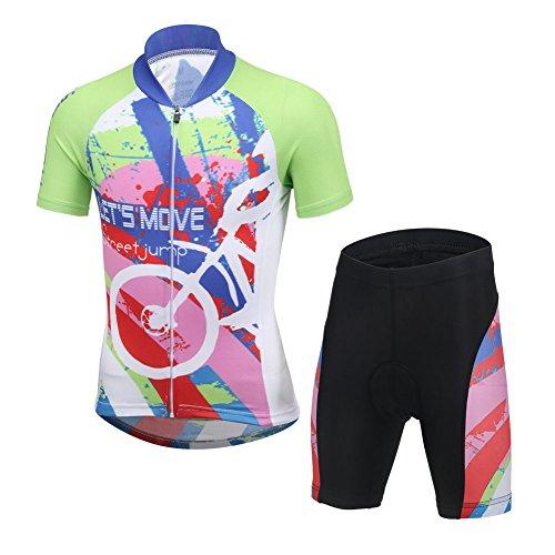 Niños Maillot de Bicicleta Ropa de Ciclo raje De Ciclismo Conjunto De Maillot Y Pantalones Cortos para Niño/Niña (Bicicleta Camiseta Manga Corta + Pantalones con Asiento Acolchado)