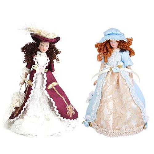 1/12 Puppenhaus Miniatur 2er Porzellan Puppen Sieg Dame Mit Hut & Ständer