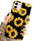 j.west case for new iphone 11 vintage floral cute yellow sunflowers black soft cover for
