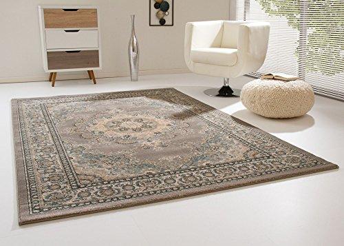 Orientteppich Anamur - modern + günstig - 2 Muster - Farben hell/dunkel - Grau, Größe: 133x190 cm
