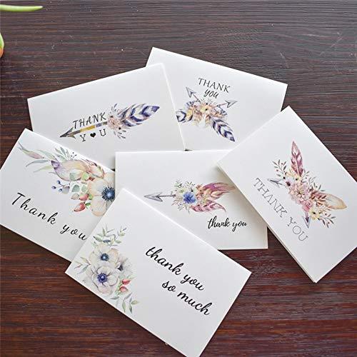 VIOYO Pluma Tarjetas de Agradecimiento con Pegatinas sobre Invitaciones Personalizadas Tarjeta de Notas Interior en Blanco Tarjetas de felicitación Postales Tarjetas de Regalo