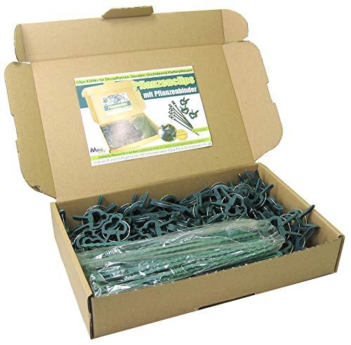 MGS SHOP Pflanzenclips 180 Stück stabile Clips Pflanzen Klammern & Binder für kleine & große Triebe Spaliere Rosenbögen Rankhilfen (180er-Set KLEIN+)