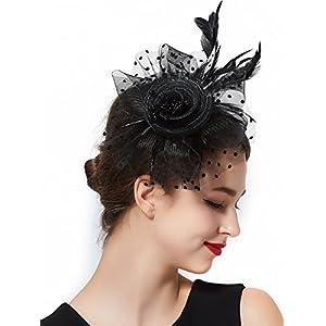 Fascinators Hat for Women Tea Party Headband Kentucky Derby Wedding Cocktail Flower Mesh Feathers Hair Clip (1-Black Set)