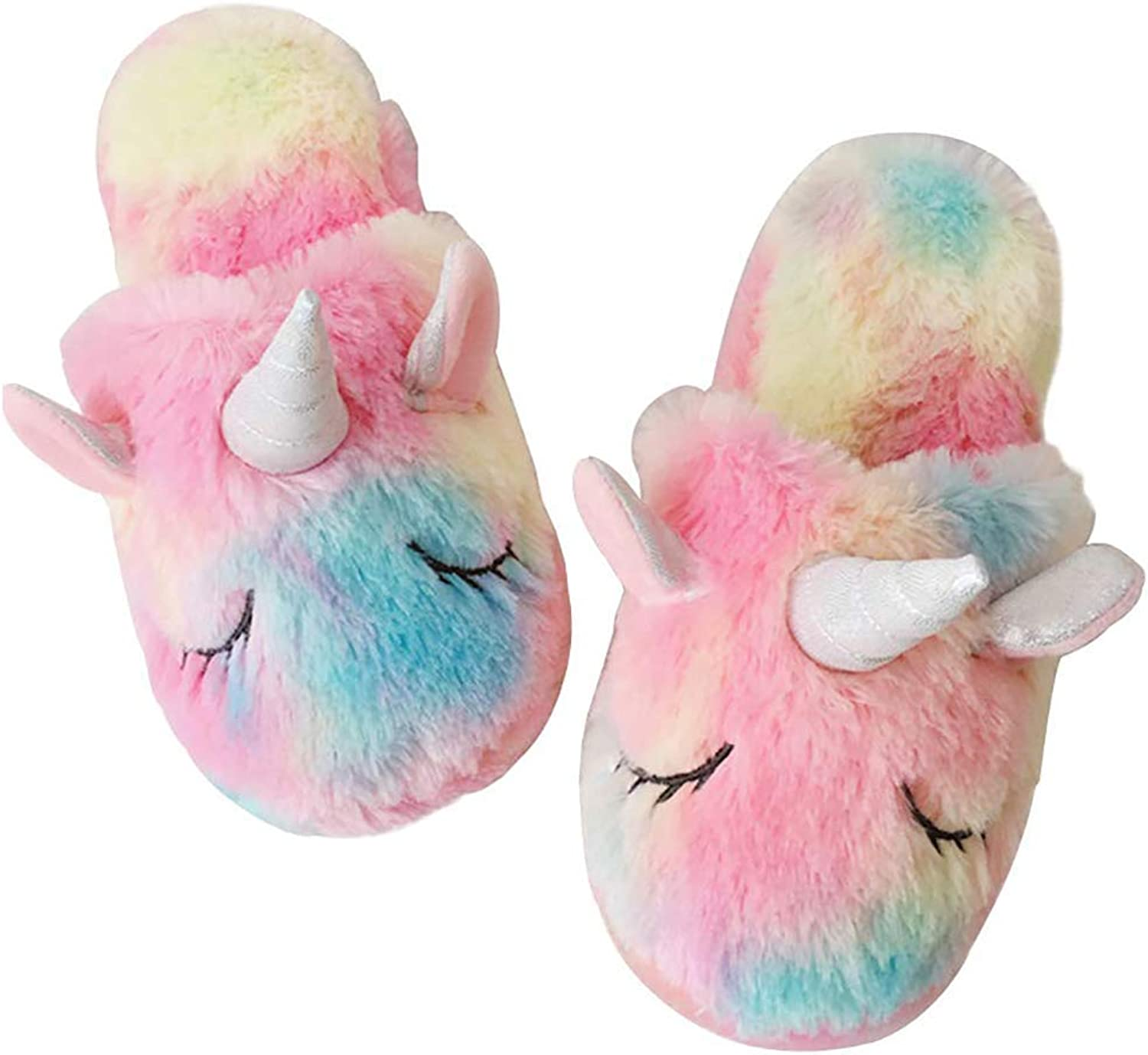 Techcity Rainbow Unicorn Slippers Cute Fluffy Girls Slippers Cozy Plush Indoor Outdoor Women Slippers Best Unicorn Gifts