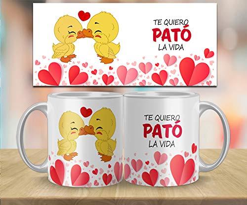 Kembilove Taza de Desayuno para Parejas con Bonitas Frases Te Quiero pató la Vida - Regalo Original Taza con diseños Coloridos para Enamorados Novios y Novias San Valentín - Taza para Enamorados