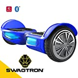 Swagtron T3 Premium Hoverboard Version 2 – Bluetooth Speaker & Lights, Personalize Experience w/Android/iOS App (Blue)