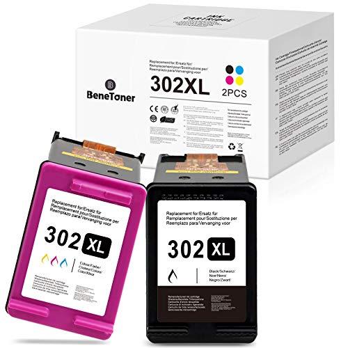 BeneToner - 2 cartuchos de tinta remanufacturados para HP 302XL para Deskjet 1110 2130 2134 3630 3632 3634 5230 5220 Envy 4520 4521 4522 4523 4 Officejet 30 3831 3833 4650 4651 4652 4654 4655.
