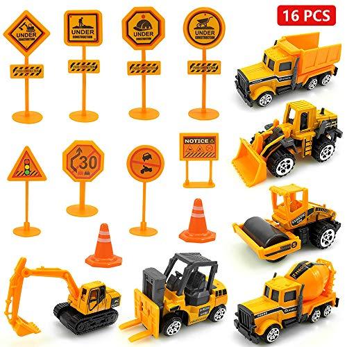 Diealles Shine Baufahrzeuge Set, 16 Stück Baufahrzeug Spielzeug mit Verkehrsschilder ab 3 Jahre