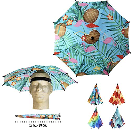 Funbrella Hats - Combo Party Pack of Umbrella Hats - 4 Pack - Rain Sun Resistant -Easy Elastic Fit for Adults & Kids - Umbrella Hats for a Costume Party, Festival, Fishing, Hiking and the Beach