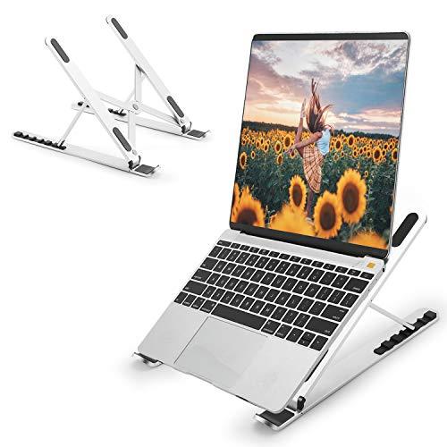 """OCDAY Soporte Portátil, Laptop Stand, Soporte para Portatil 6 Ángulos Ajustables de Aluminio, Soporte Ordenador Portatil Ventilado Plegable para 10-15.6""""Macbook DELL Lenovo y Otros Portatiles."""