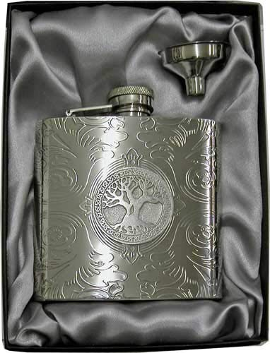 6oz 'Celtic Tree of Life' Florentine Silver Mirror Flask & Funnel Gift Set