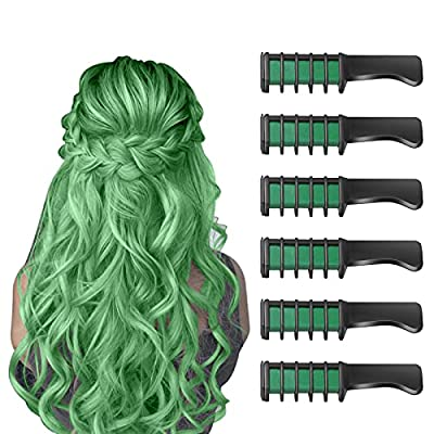 New Hair Chalk Comb Temporary Bright Hair Color Dye for Girls Kids, Washable Hair Chalk for Girls Age 4 5 6 7 8 9 10 New Year Birthday Party Cosplay DIY Children's Day, Halloween, Christmas (Green) from Master-Ed