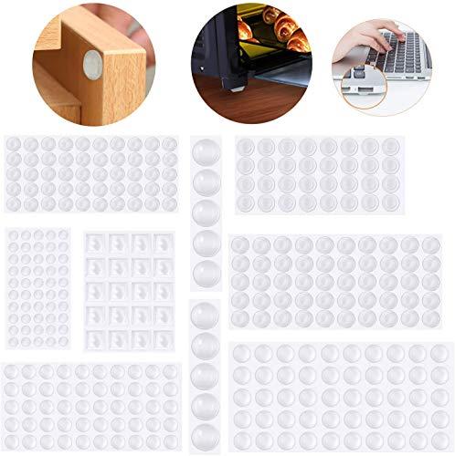 Emooqi 294 Stück Anschlagpuffer Türpuffer Transparent Gummi Anschlagdämpfer Klebstoff Stoßfänger Pads, Elastikpuffer,Möbel Puffer, Sound & Impact Dämpfung für Türen, Schränke,Tastatur - 5 Größen