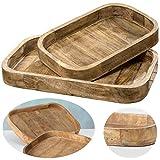 LS-Design XL Deko-Tablett 46cm Mango-Holz Serviertablett Holz-Tablett Obst-Schale Vintage