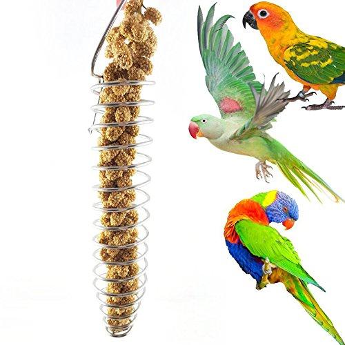 Catkoo Vogelzubehör, tragbar, Edelstahl, spiralförmig, für Vögel, Papageien, Haustiere, Obst, Spielzeug – Silber