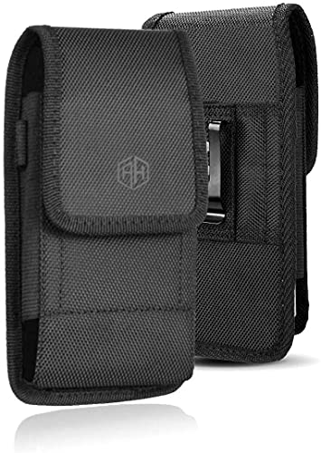 AH Heavy Duty Phone Belt Holder for iPhone 11, 12 Pro, Cell Phone Pouch Tactical Phone Loops Holster for iPhone 8, 7, 6, 6S,X Xr, Samsung Galaxy S5 S8 S10 Android fits Otterbox & Thick Case (Medium)