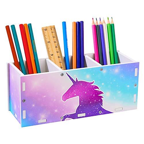 Basumee Unicorn Tisch Organizer Holz Schreibtisch Kinder Schreibtisch Tidy Makeup Brush Holder Organizer 3 Steckplätze,Blue Purple Unicorn