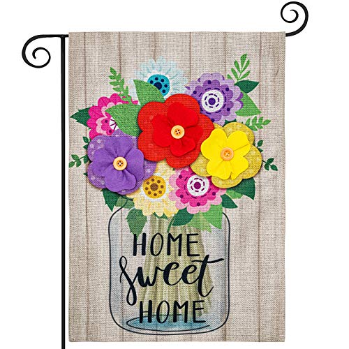 hogardeck Home Sweet Home Spring Garden Flag, Premium Burlap Spring Decor with 3D Flowers, Vertical Double Sided Seasonal Yard Flag, Outdoor Indoor Patio Rustic Home Decor, 12.5x18 Inch