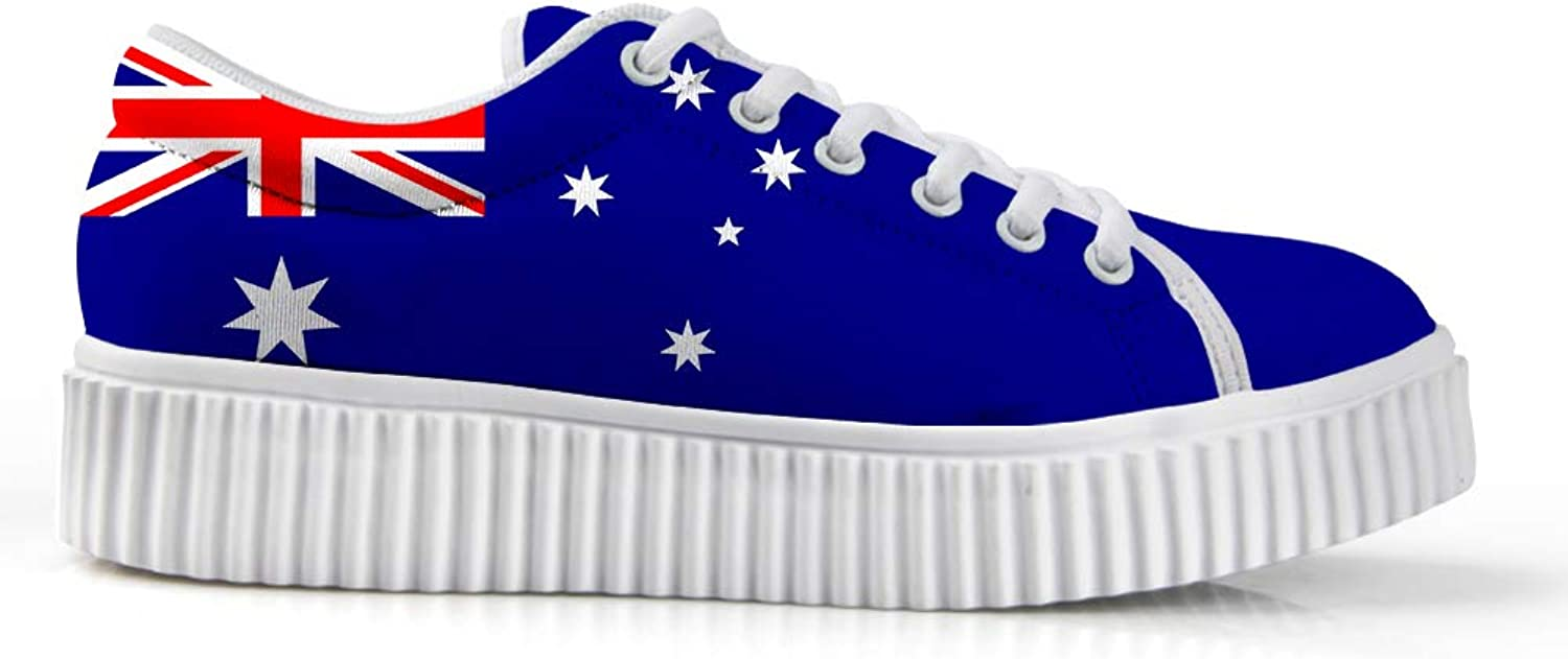 Owaheson Platform Lace up Sneaker Casual Chunky Walking shoes Low Top Women Australia Flag