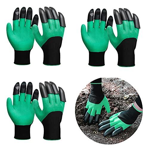 meacom 3 Paar Gartenhandschuhe mit Krallen Elastik Handgelenk Dornenfest Arbeitshandschuhe Garten Gloves zum Pflanz-und Gartenarbeit Handschuhe Dornenfest