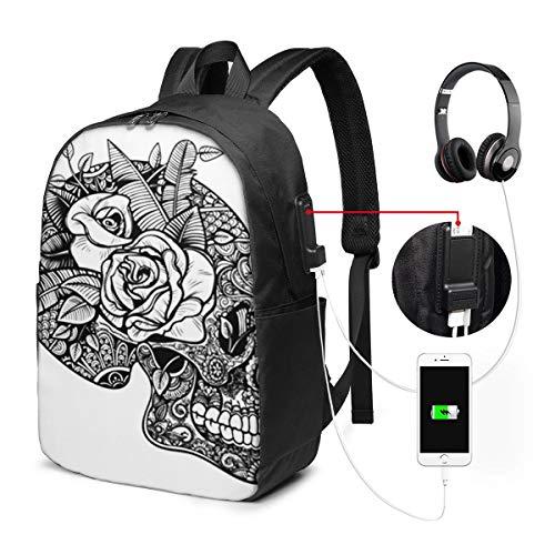 WEQDUJG Mochila Portatil 17' Pulgadas Mochila Hombre Mujer con Puerto USB, Calavera Rosas Rock Mochila para El Laptop para Ordenador del Trabajo Viaje