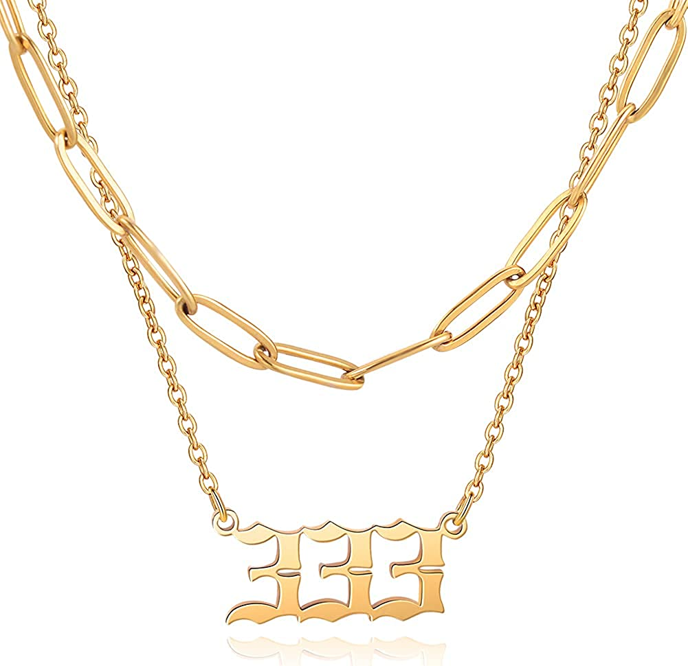 Layered Chain Angel Number Necklace For Women 111 To 999 Pendant Necklaces Numerology Jewelry