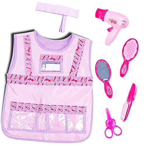 Besonca Girls Beauty Salon Styling Hair Stylist Costume Set Barber Cosplay Role Play Outfit with Vest Headband Toys Dress up for Girls Aged 3-8 (set)