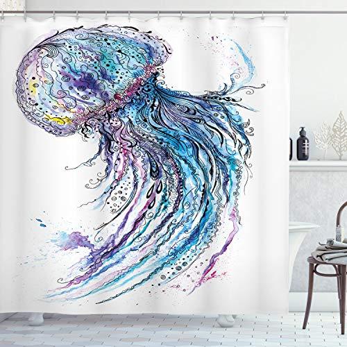 ABAKUHAUS kwal Douchegordijn, Aqua Kleuren Creative, stoffen badkamerdecoratieset met haakjes, 175 x 220 cm, Blauw Paars Wit