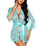RSLOVE Lingerie for Women Lace Babydoll Kimono Robe Sexy Chemise V Neck Mesh Sleepwear Green M