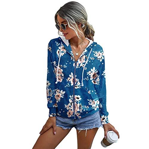 Yuanu Sweat Femme Imprimé Tie Dye Manche Longue Cordon Fermeture éclair Hauts Automne Hiver Adolescent Mode Décontractée Poids Léger Sweats à Capuche Streetwear Bleu 1# L