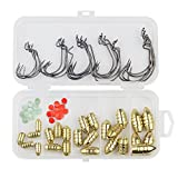 Vishusju Fishing Tackles 76PCS Sinkers Set with Hooks Bullet Weights Beads Texas Rig Fishing for Freshwater Saltwater
